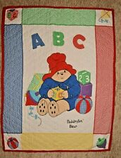 Vintage Paddington Bear Baby Toddler Crib Quilt Colorful Gingham Print Blanket