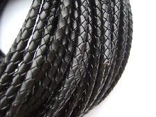 1/5 Yards 4MM Round Genuine Bolo Braided Leather Cord String DIY Craft Jewelry