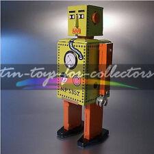GELBER LITHOGRAPHIERTER MECHANISCHER BLECH UHRWERK ROBOTER  ROBOT