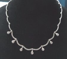 "Fine Round Cut Diamond Bezel Set 7-Stationary White Gold Necklace 16.25"" 2.00Ct"