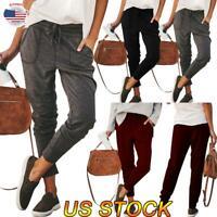Women Solid Color Jogger Drawstring Trousers Loose Two Pocker Sweat Pants Slacks