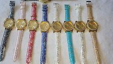 Joblot 20 pcs Faux Leather Diamante Mixed colour Watches new wholesale lot U