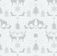 ARCTIC ANIMALS ON SILVER BY LEWIS /& IRENE COTTON FABRIC FQ/'S