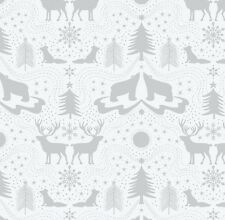 ARCTIC ANIMALS ON WHITE BY LEWIS & IRENE - COTTON FABRIC FQ'S
