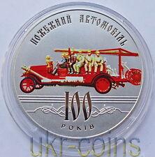 2016 Ukraine Cu-Ni Color Coin Ukrainian Fire Engine Vehicle Truck Car 5UAH UNC