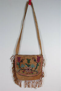c1890 NATIVE AMERICAN CREE INDIAN BEAD & QUILL DECORATED HIDE POSSIBLE BAG