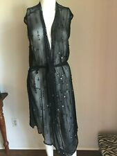 NWT ANN DEMEULEMEESTER Black SILK Sequin Belted DRESS 36 S/M $975 PRISTINE