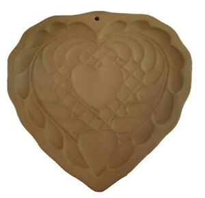 Vintage Brown Bag Cookie Art Stoneware Mold Quilted Heart 1988 Hill Design Inc