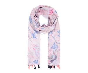 Pink peacock bird fashion scarf scarves large  shawl Wrap  tassels UK