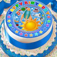SPACE ROCKET HAPPY BIRTHDAY BLUE 7.5 INCH PRECUT EDIBLE CAKE TOPPER DECORATION