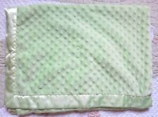 Just One Year Green Minky Dot Bumps Plush w Satin Baby Boy or Girl Blanket EUC