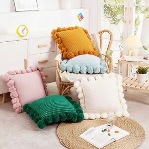 Throw Pillow Cover With Pompoms Knitted Cushion Case Decorative Pillow For Sofa