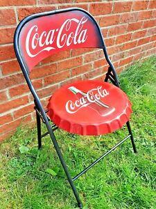 Coca-Cola Retro Folding Bottle Cap Garden Cafe Chair Rare