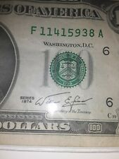 1974  $100 One Hundred Dollar Bill Federal Reserve Note Small Face Rare.   11/17