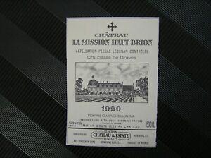 01 ETIQUETTE  CHATEAU LA MISSION HAUT BRION 1990 FORMAT MAGNUM 150 CL RARE