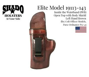 SHADO Leather Holster USA Elite Model 19113-143 Left Hand Brown Colt Officer