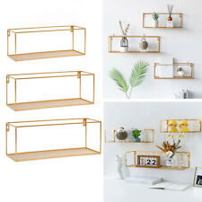 Antique Gold Wall Shelves Storage Display Shelving Assorted Shape Metal Wood NEW