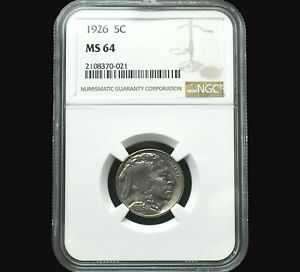 1926 Buffalo Nickel Uncirculated Graded MS64 by NGC Only 556 in this Grade