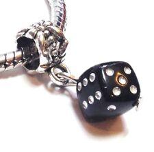 3D BLACK DICE_Acrylic Bead for European Charm Bracelet_Game Casino Luck_Q45