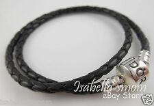 "BLACK LEATHER DOUBLE Genuine PANDORA Bracelet with SILVER Medium 15""/38cm NEW"