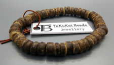 "Mens Brown Coconut Beads Bracelet 7.5"" Stretchy Wristband Handmade By TaKuKai UK"