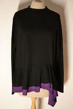 RIANI Bluse/Tunika,Gr42,schwarz/violett,cotton/EL,elegant,superschön,neu!!!