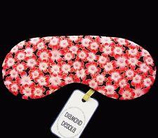 Eye Sleep Mask Flowers Luxury Soft Cotton Japanese Style Relax UK Made Gift