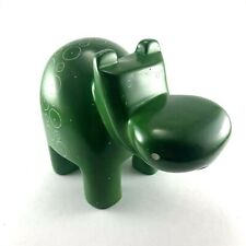 Hand Carved Kisii Soapstone Green Hippopotamus Hippo Figure Circles and Dots