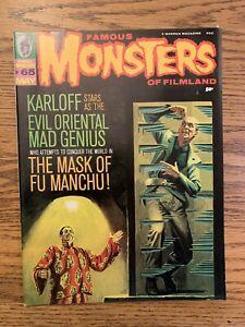Famous Monsters of Filmland #65, 1970 Karloff Evil Genius Mask Of Fu Manchu VF-