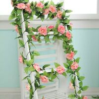 Artificial Silk Rose Flower Ivy Vine Leaf Garland Wedding Party Home Decor h80