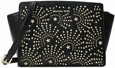 Michael Kors Black Leather Selma Firework Studded Medium Messenger Crossbody Bag