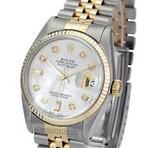Rolex Mens Datejust 16013 Two-tone 36mm White MOP Dial 18K Gold Bezel Watch