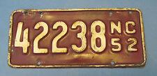 1952 North Carolina motorcycle license plate all original