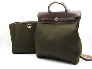 Auth HERMES Her Bag Ado PM  Hand Bag Backpack Bag Toile Officier Calf Khaki 5292