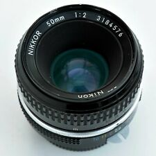 Nikon Nikkor 50mm f/2 AI Converted Mn'l Focus Lens. Hood. Exc+++. See test pics.