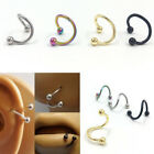 Surgical Steel Spiral Twisted Lip Ring Nose Rings Ear Cartilage Helix Piercing