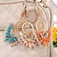 Crystal Butterfly Keyring Pendant Charm Key Bag Chain Ring Keychain Car Gift