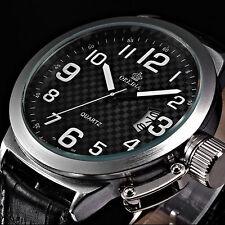 ORKINA Classic Mens Black Quartz Wrist Watch Army Leather Analog Stainless Steel