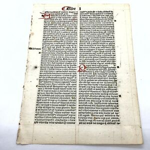 RARE 1487 Incunable Early Bible Leaf Smaller Doc - Manuscript Codex Paper Latin