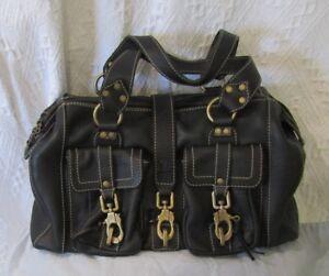 Bogner Black Leather Shoulder / Handbag 'Samba Sao Paulo' (Brass Fittings)