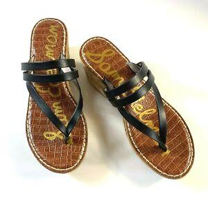 Sam Edelman women's black leather Rasha strap cork wedge thong sandals size 8 M