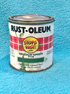VINTAGE RUST-OLEUM PAINT CAN - MEADOW GREEN - 1979 - EMPTY - COLLECTORS ITEM
