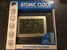 La Crosse Technology Atomic Digital Clock Weather Station Indoor/Outdoor- Brown