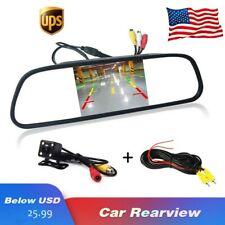 "4.3"" Car Rear View Monitor Mirror Rearview System Backup Camera Kit Night Vision"