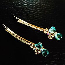 USA Quality Bobby Pin Hair Clip Hairpin Rhinestone Crystal Gold Bowknot Blue