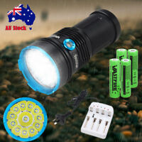 Super Bright 50000LM 12x T6 LED Flashlight Work Light & 18650 Battery & Charger