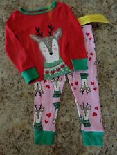 NWT Girls size 2T CHRISTMAS Pajamas REINDEER 2 piece red & pink wonderkids