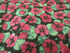 5 Metres Pink on Black Poppy/Poppies Floral Printed Polycotton Fabric
