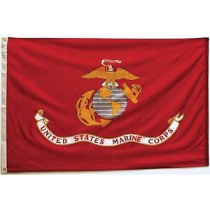 US Marine Corps USMC Maines 4x6 210D Nylon Flag Heavy Duty Clips & Pin Grommets