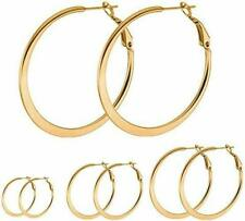 Attractive Big Hoop Earrings Silver Yellow Gold Rose Gold Plated Stainless Steel